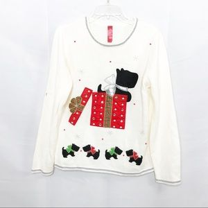 Sweaters - Scottie dog white holiday sweater TB1